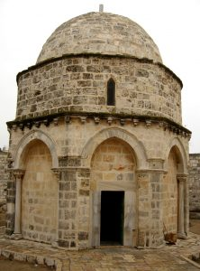 The chapel within the mosque containing the spot from which Jesus ascended