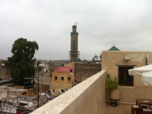 A minaret in Fez, Morocco, as seen from the roof of the building where my wife and I lived two summers ago.