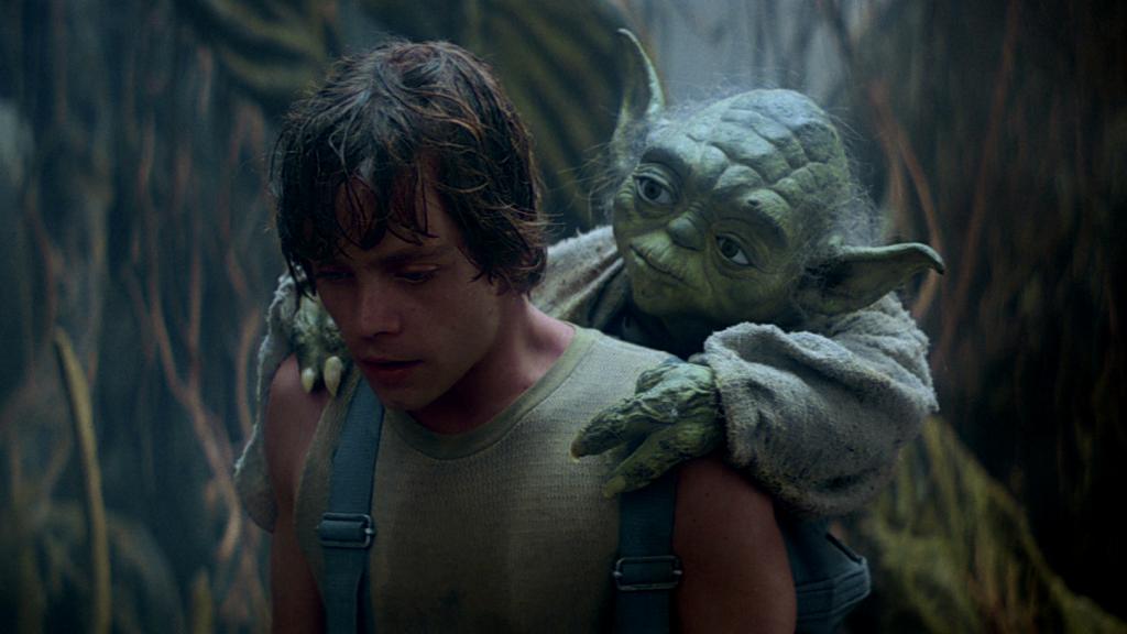 Yoda training Luke on Dagobah